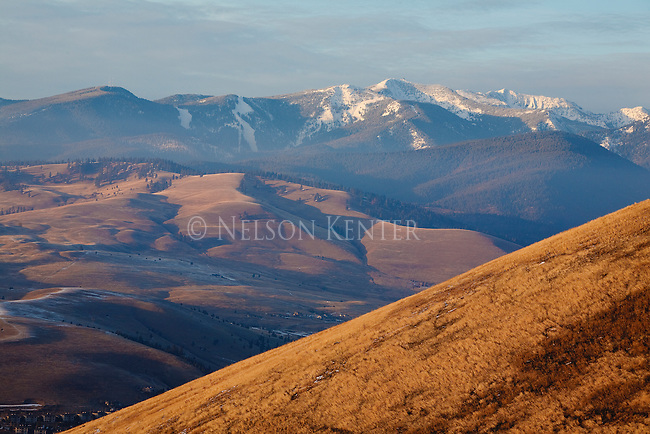Sunset on the foothills and mountains around Missoula, Montana