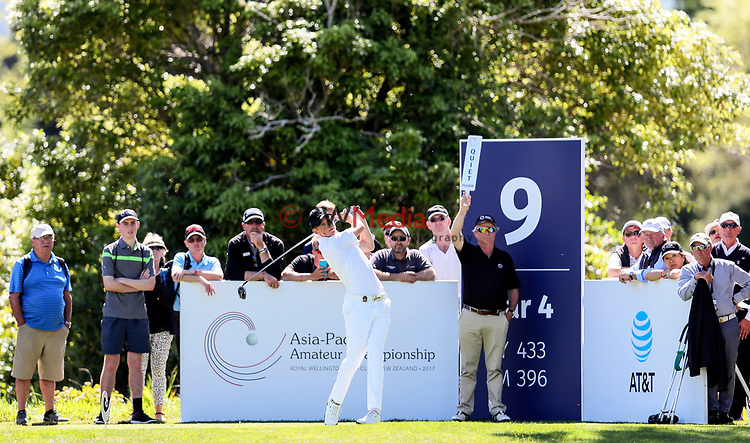 Daniel Hillier of New Zealand during the Asia Pacific Amateur Golf Championship Round Three, Royal Wellington Golf Course, Wellington, New Zealand, 28 October2017.  Photo: Simon Watts/www.bwmedia.co.nz