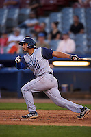 Brooklyn Cyclones outfielder Hengelbert Rojas (19) at bat during the first game of a doubleheader against the Connecticut Tigers on September 2, 2015 at Senator Thomas J. Dodd Memorial Stadium in Norwich, Connecticut.  Brooklyn defeated Connecticut 7-1.  (Mike Janes/Four Seam Images)