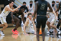 Bentonville players react to a loose ball, Saturday, November 14, 2020 during a basketball game at Bentonville High School in Bentonville. Check out nwaonline.com/201115Daily/ for today's photo gallery. <br /> (NWA Democrat-Gazette/Charlie Kaijo)