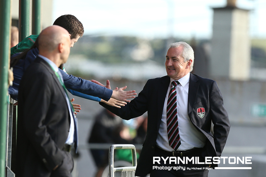 John Caulfield with fans ahead of the UEFA Europa League Third Qualifying Round First Leg game between Cork City and Rosenborg, on Thursday 9th August 2018, at Turners Cross, Cork. Photo By: Michael P Ryan.