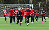 Tuesday 15 January 2013<br /> Pictured: Players warming up led by top scorer Michu (FRONT RIGHT)<br /> Re: Swansea City FC training near the Liberty Stadium ahead of their Cup game against Arsenal at the Emirates Stadium.