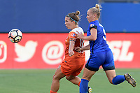 Frisco, TX - Sunday September 03, 2017: Amber Brooks and Merritt Mathias during a regular season National Women's Soccer League (NWSL) match between the Houston Dash and the Seattle Reign FC at Toyota Stadium in Frisco Texas. The match was moved to Toyota Stadium in Frisco Texas due to Hurricane Harvey hitting Houston Texas.