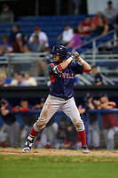 Lowell Spinners first baseman Raiwinson Lameda (28) at bat during a game against the Batavia Muckdogs on July 11, 2017 at Dwyer Stadium in Batavia, New York.  Lowell defeated Batavia 5-2.  (Mike Janes/Four Seam Images)