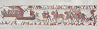 Bayeux Tapestry scene  6 - 7:  Harold is areested by Guy de Ponthieu for landing without permission. BYX6 BYX7