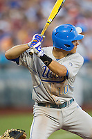 UCLA shortstop Pat Valaika (10) at bat against the North Carolina State Wolfpack during Game 8 of the 2013 Men's College World Series on June 18, 2013 at TD Ameritrade Park in Omaha, Nebraska. The Bruins defeated the Wolfpack 2-1, eliminating North Carolina State from the tournament. (Andrew Woolley/Four Seam Images)