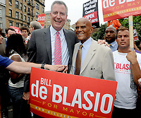 SMG_Bill de Blasio_Harry Belafonte_NY1_Mayor_081913_01.JPG<br /> <br /> NEW YORK, NY - AUGUST 19: Democratic candidate for Mayor and Public Advocate Bill de Blasio speaks as actor, singer and supporter Harry Belafonte and actress Susan Sarandon look on at a 'Hospitals Not Condos' rally in the West Village on August 19, 2013 in New York City. De Blasio called for quality health care for all New Yorkers and for the end of shuttering city hospitals.  (Photo By Storms Media Group) <br /> <br /> People:  Bill de Blasio_Harry Belafonte<br /> <br /> Transmission Ref:  NY1<br /> <br /> Must call if interested<br /> Michael Storms<br /> Storms Media Group Inc.<br /> 305-632-3400 - Cell<br /> 305-513-5783 - Fax<br /> MikeStorm@aol.com