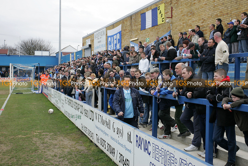 Grays fans on the terrace at the clubhouse end of the New Rec - Grays Athletic Football Club - 25/03/06 - MANDATORY CREDIT: Gavin Ellis/TGSPHOTO. Self-Billing applies where appropriate. NO UNPAID USE. Tel: 0845 094 6026