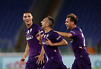 Football, Serie A: S.S. Lazio - Fiorentina, Olympic stadium, Rome, June 27, 2020. <br /> Fiorentina's Frank-Henry Ribéry (c) celebrates after scoring with his teammates Nikola Milenkovic (l) and Pol Mikel Lirola (r) during the Italian Serie A football match between S.S. Lazio and Fiorentina at Rome's Olympic stadium, Rome, on June 27, 2020. <br /> UPDATE IMAGES PRESS/Isabella Bonotto