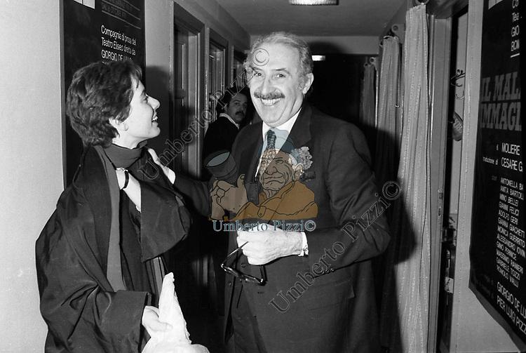 ROMOLO VALLI CON MONICA GUERRITORE<br /> TEATRO ELISEO ROMA 1979