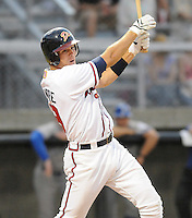 June 19, 2008: Infielder Jon Gilmore (19) of the Danville Braves, rookie Appalachian League affiliate of the Atlanta Braves, in a game against the Burlington Royals at Dan Daniel Memorial Park in Danville, Va. Photo by:  Tom Priddy/Four Seam Images
