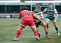 George Davis of Ealing Trailfinders is tackled by Alec Clarey of Jersey Reds during the Championship Cup Quarter final match between Ealing Trailfinders and Jersey Reds at Castle Bar , West Ealing , England  on 22 February 2020. Photo by Alan  Stanford / PRiME Media Images.