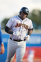 Jupiter Hammerheads first baseman Lazaro Alonso (44) rounds the bases after hitting a home run in the top of the second inning during a game against the Dunedin Blue Jays on August 14, 2018 at Dunedin Stadium in Dunedin, Florida.  Jupiter defeated Dunedin 5-4 in 10 innings.  (Mike Janes/Four Seam Images)
