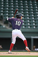 Canter fielder Cole Brannen (10) of the Greenville Drive bats in a game against the Delmarva Shorebirds on Friday, August 2, 2019, in the continuation of rain-shortened game begun August 1, at Fluor Field at the West End in Greenville, South Carolina. Delmarva won, 8-5. (Tom Priddy/Four Seam Images)