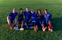 KASHIMA, JAPAN - AUGUST 4: Lindsey Horan #9, Carli Lloyd #10, Tierna Davidson #12, Jane Campbell #22, Casey Krueger #20 and Catarina Macario #19 of the USWNT pose for a photo after a training session at the practice field on August 4, 2021 in Kashima, Japan.