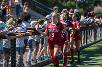 STANFORD, CA - SEPTEMBER 12: Astrid Wheeler and Kellie Pagador after a game between Loyola Marymount University and Stanford University at Cagan Stadium on September 12, 2021 in Stanford, California.
