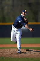 Queens Royals relief pitcher Tanner Jacobson (31) in action during game two of a double-header against the Catawba Indians at Tuckaseegee Dream Fields on March 26, 2021 in Kannapolis, North Carolina. (Brian Westerholt/Four Seam Images)