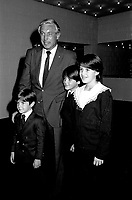 """May 21, 1985 File Photo - Jean Beliveau, former CANADIENS Hockey player pose with 3 siblings of Canadian Prime Minister Brian Mulroney and wife Mila  : Mark  (smaller boy), Benedict (aka Ben) and Caroline (girl)  attend an event at Montreal's Expo-Theatre.<br /> <br /> As of 2013 : <br /> Robert """"Mark"""" Mulroney (born . 1979) - Is a  Managing Director, Head of Equity Capital Markets, National Bank of Canada<br /> Benedict Mulroney (born . 1976) is a TV host<br /> Caroline Mulroney (born. 1974) - is a Lawyer, consultant and academic administrator<br /> Not in photo is Nicolas Mulroney (born . 1985) - Associate, CIBC Capital Markets"""