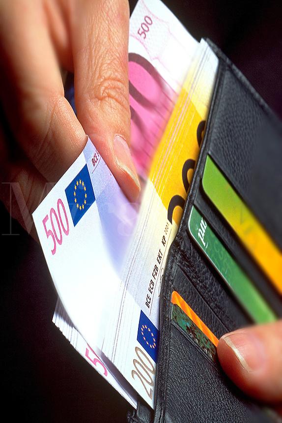 Spending Euros banknotes