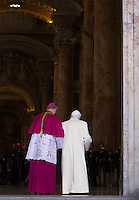 Il Papa Emerito Benedetto XVI varca la Porta Santa aperta da Papa Francesco in occasione dell'inizio ufficiale del Giubileo della Misericordia, nella Basilica di San Pietro, Citta' del Vaticano, 8 dicembre 2015.<br /> Pope Emeritus Benedict XVI enters the Holy Door opened by Pope Francis on the occasion of the start of the Jubilee of Mercy, on St. Peter's Basilica at the Vatican, 8 December 2015.<br /> UPDATE IMAGES PRESS/Bonotto Giagnori<br /> <br /> STRICTLY ONLY FOR EDITORIAL USE<br /> <br /> *** ITALY AND GERMANY OUT ***