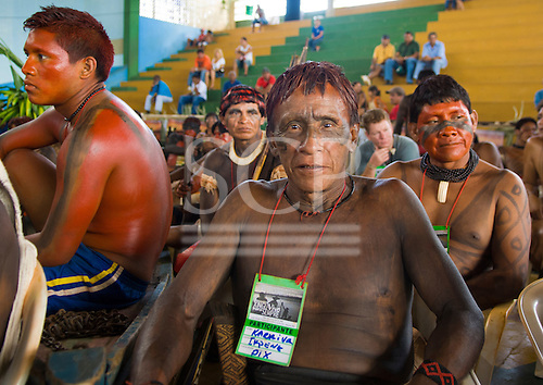 """Altamira, Brazil. """"Xingu Vivo Para Sempre"""" protest meeting about the proposed Belo Monte hydroeletric dam and other dams on the Xingu river and its tributaries. Ikepeng cheif Karniva."""