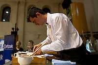 MELBOURNE, AUSTRALIA - JANUARY 09: RADU HOGEA competing in the 2011 Victorian Barista Championship held at St Kilda Town Hall on January 9, 2011 in Melbourne, Australia. (Photo by Sydney Low / Asterisk Images)