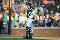 Wake Forest Demon Deacons catcher Ben Breazeale (39) goes through defensive signs during the game against the West Virginia Mountaineers in Game Four of the Winston-Salem Regional in the 2017 College World Series at David F. Couch Ballpark on June 3, 2017 in Winston-Salem, North Carolina.  The Demon Deacons walked-off the Mountaineers 4-3.  (Brian Westerholt/Four Seam Images)