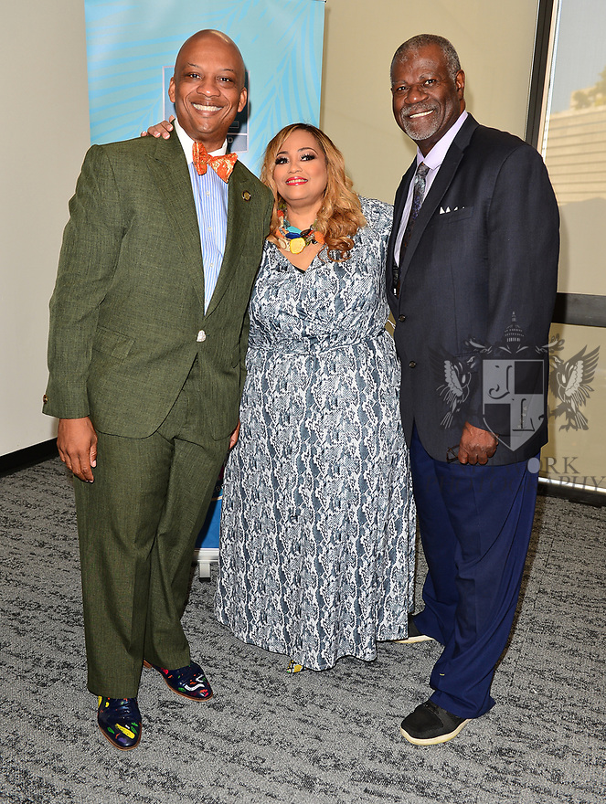 MIAMI, FLORIDA - JANUARY 29: City of Miami Gardens Mayor Oliver Gilbert, Founder of SBGC Melanie Few and Don Wiggins attend the 21st Annual Super Bowl Gospel Celebration Press Conference at James L Knight Center on January 29, 2020 in Miami, Florida.  ( Photo by Johnny Louis / jlnphotography.com )