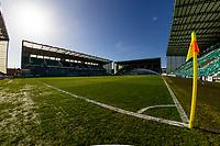 21st April 2021; Easter Road, Edinburgh, Scotland; Scottish Premiership Football, Hibernian versus Livingston;  Easter Road pitch ahead of kick off