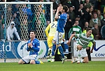 St Johnstone v Celtic...07.05.14    SPFL<br /> Michael O'Halloran holds his head after putting his shot over the bar.<br /> Picture by Graeme Hart.<br /> Copyright Perthshire Picture Agency<br /> Tel: 01738 623350  Mobile: 07990 594431