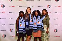 Los Angeles, CA - Thursday January 12, 2017: Catrina Atanda , Kailen Sheridan, Miranda Freeman, Kayla Mills during the 2017 NWSL College Draft at JW Marriott Hotel.