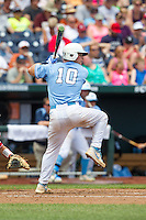 North Carolina Tar Heels catcher Brian Holberton #10 bats during Game 3 of the 2013 Men's College World Series between the North Carolina State Wolfpack and North Carolina Tar Heels at TD Ameritrade Park on June 16, 2013 in Omaha, Nebraska. The Wolfpack defeated the Tar Heels 8-1. (Brace Hemmelgarn/Four Seam Images)