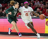 COLLEGE PARK, MD - FEBRUARY 03: Alyza Winston #3 of Michigan State closes in on Ashley Owusu #15 of Maryland during a game between Michigan State and Maryland at Xfinity Center on February 03, 2020 in College Park, Maryland.