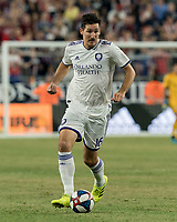 FOXBOROUGH, MA - JULY 28: Sacha Kljestan #16 dribbles during a game between Orlando City SC and New England Revolution at Gillette Stadium on July 27, 2019 in Foxborough, Massachusetts.