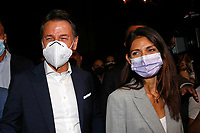 Former premier Giuseppe Conte and the mayor of Rome Virginia Raggi in a suburb in the east of Rome during the election campaign for the mayor of Rome. <br /> Rome (Italy), September 14th 2021<br /> Photo Samantha Zucchi Insidefoto
