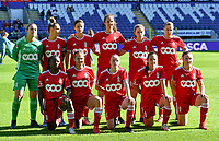 players of Standard with Hillary Damman , Maud Coutereels , Maurane Marinucci , Hanne Merkelbach , Elien Nelissen , Aster Janssens , Fon Welma , Laura Miller , Zoe Van Eynde , Vanity Lewerissa and Davinia Vanmechelen pictured posing for the teampicture during a female soccer game between RSC Anderlecht Dames and Standard Femina de Liege on the sixth matchday of the 2021 - 2022 season of Belgian Womens Super League , saturday 9 th of October 2021  in Brussels , Belgium . PHOTO SPORTPIX | DAVID CATRY