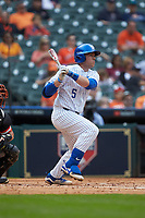 T.J. Collett (5) of the Kentucky Wildcats follows through on his swing against the Sam Houston State Bearkats during game four of the 2018 Shriners Hospitals for Children College Classic at Minute Maid Park on March 3, 2018 in Houston, Texas. The Wildcats defeated the Bearkats 7-2.  (Brian Westerholt/Four Seam Images)
