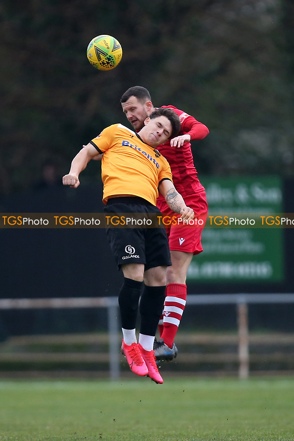 Jordan Clark of Hornchurch and Charlie Seaman of Maidstone during Hornchurch vs Maidstone United, Buildbase FA Trophy Football at Hornchurch Stadium on 6th February 2021