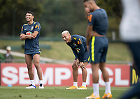 12th November 2020; Granja Comary, Teresopolis, Rio de Janeiro, Brazil; Qatar 2022 World Cup qualifiers; Richarlison and Thiago Silva of Brazil during training session