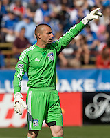 San Jose Earthquakes goalkeeper Jon Busch in action during the game against Whitecaps at Buck Shaw Stadium in Santa Clara, California on April 7th, 2012.  San Jose Earthquakes defeated Vancouver Whitecaps, 3-1.