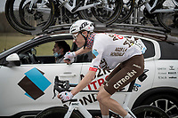 Michael Schär (SUI/AG2R Citroën), pregnant with supplies for his teammates up ahead in the peloton<br /> <br /> Stage 3 from Monticiano to Gualdo Tadino (219km)<br /> <br /> 56th Tirreno-Adriatico 2021 (2.UWT) <br /> <br /> ©kramon