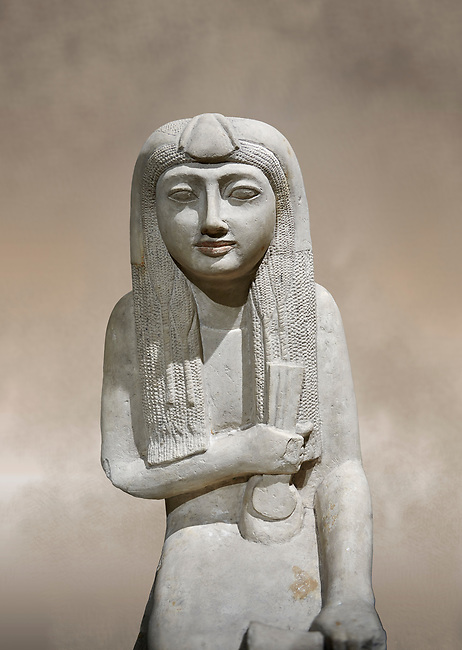 """Ancient Egyptian statue of Hel, limestone, New Kingdom, late 18th Dynasty, (1320-1280 BC), Saqqara. Egyptian Museum, Turin. <br /> <br /> The women is seated on a cushioned stool. On her head is a lotus flower. In her left hand she holds a cloth in her right a counterweight for a meant necklace, a ritual instrument used in the cult of the goddess Hathor. the statue probably stood in a tomb in Saqqara necropolis of Memphis, where the Egyptian eletes of the time had splendid tombs with statues of s similar style. The inscription evokes the deceased """"everything that comes forth in the presence of the gods of Memphis for Osiris, the lady of Hel..."""""""