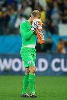 Goalkeeper Joe Hart of England looks dejected