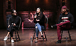 "Sabrina Imamura, Lauren Boyd and Bryan Terrell Clark attends the cast Q & A during The Rockefeller Foundation and The Gilder Lehrman Institute of American History sponsored High School student #EduHam matinee performance of ""Hamilton"" at the Richard Rodgers Theatre on October 24, 2018 in New York City."