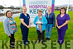 The O'Shea family from Killorglin present a cheque for €4,270 to the Diabetes Daycare Unit in UHK on Tuesday. L to r: Helen Crowley, Mairead Brosnahan (Diabetic Nurse), Kathleen and Kerry O'Shea and Maire Nolan.