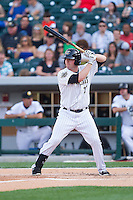 Andy Wilkins (17) of the Charlotte Knights at bat against the Lehigh Valley IronPigs at BB&T Ballpark on May 8, 2014 in Charlotte, North Carolina.  The IronPigs defeated the Knights 8-6.  (Brian Westerholt/Four Seam Images)