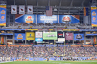 January 01, 2014:<br /> <br /> Baylor Bears punter kicker Aaron Jones #43 attempts to kick a field goal before the end of first half during Tostitos Fiesta Bowl at University of Phoenix Stadium in Scottsdale, AZ. UCF defeat Baylor 52-42 to claim it's first ever BCS Bowl trophy.