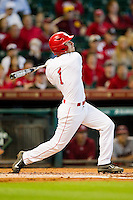 Landon Appling #1 of the Houston Cougars follows through on his swing against the Arkansas Razorbacks at Minute Maid Park on March 3, 2012 in Houston, Texas.  The Cougars defeated the Razorbacks 4-1.  (Brian Westerholt/Four Seam Images)