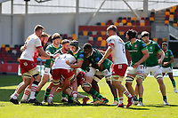 24th April 2021; Brentford Community Stadium, London, England; Gallagher Premiership Rugby, London Irish versus Harlequins; Rob Simmons of London Irish tackles Jack Kenningham of Harlequins