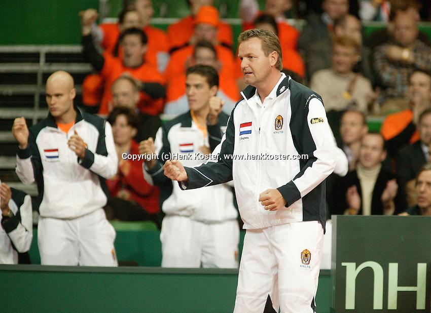 10-2-06, Netherlands, tennis, Amsterdam, Daviscup.Netherlands Russia, Dutch captain supports Raemon Sluiter